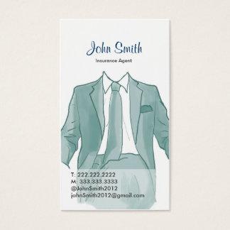 Agente em um cartão de visita do desenho do terno