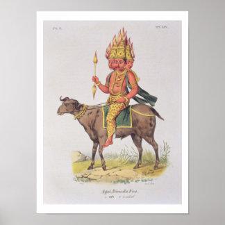 Agni, deus do fogo, gravado pela torta de Charles  Pôster