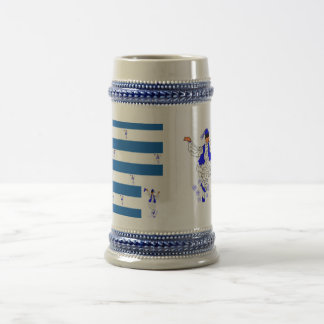 Agrida cinzas/azul bandeira do grego da caneca de