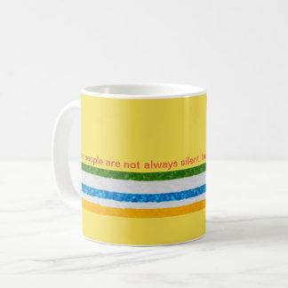 Agrida para o café, chá, listras, palavras caneca de café