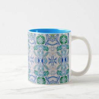 agrida para o design do café, do azul e do verde caneca de café em dois tons