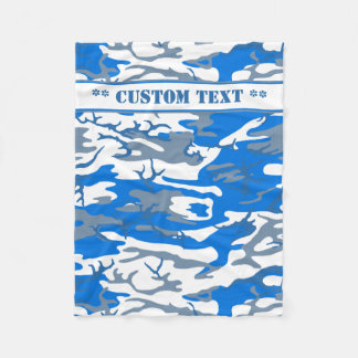 Água de gelo Camo azul com texto feito sob Cobertor De Velo