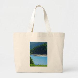 Água e montanhas bonitas da praia bolsa
