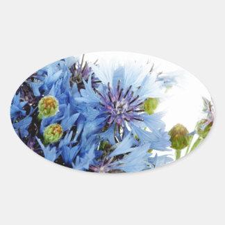 Água floral azul do espaço livre do arranjo da adesivo oval