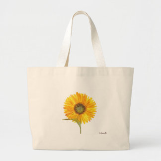 Aguarela amarela da flor do girassol sacola tote jumbo