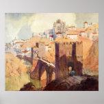 Aguarela antiga da paisagem de Toledo do vintage Posteres