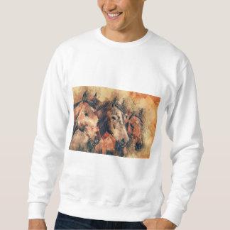 Aguarela artística dos cavalos que pinta moletom