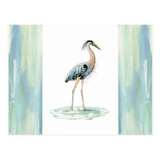 Aguarela azul da garça-real cartão postal
