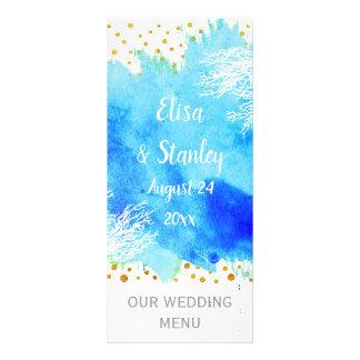 Aguarela azul do Aqua, cartão do menu do casamento