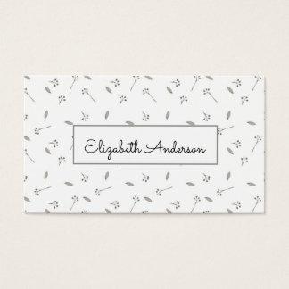 Aguarela azul e cinzenta bonito floral cartão de visitas