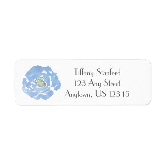 Aguarela azul   floral personalizado etiqueta endereço de retorno