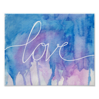 Aguarela azul & roxa - poster do amor |
