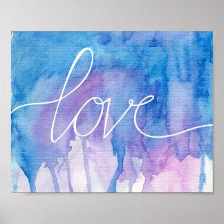 Aguarela azul & roxa - poster do amor | pôster