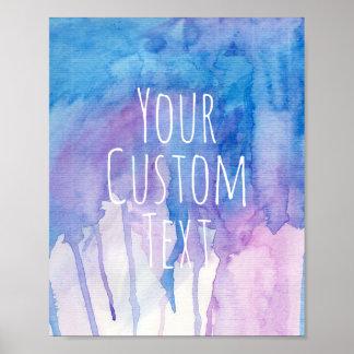 Aguarela azul & roxa - poster feito sob encomenda pôster