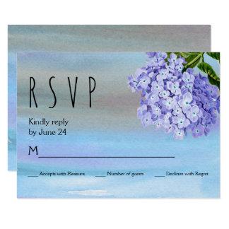 Aguarela azul RSVP wedding floral dos hydrangeas Convite 8.89 X 12.7cm