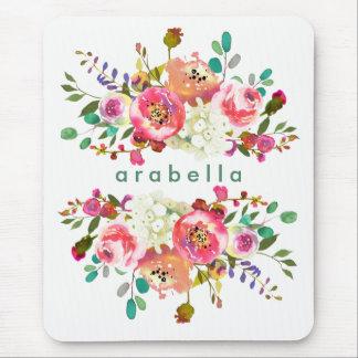 Aguarela bonita floral com seu nome mouse pad
