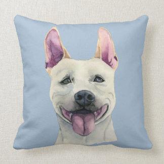Aguarela branca do cão de Staffordshire bull Almofada