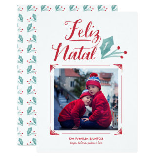 Aguarela & Caligrafia | Feliz natal Convite 12.7 X 17.78cm