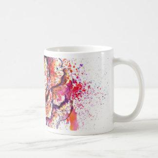 Aguarela colorida da couve caneca de café