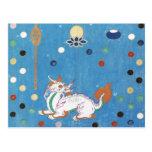 Aguarela colorida do vintage dos pontos do dragão cartão postal