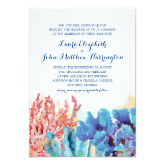 Aguarela colorida   dos recifes que Wedding Convite 12.7 X 17.78cm