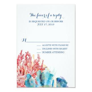 Aguarela colorida   RSVP Wedding dos recifes Convite 8.89 X 12.7cm