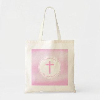 Aguarela cor-de-rosa do comunhão bolsa tote