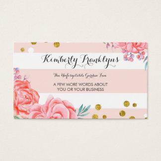 Aguarela cor-de-rosa dos confetes do ouro das cartão de visitas