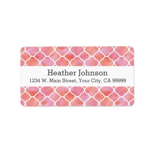 Aguarela cor-de-rosa elegante do teste padrão etiqueta de endereço