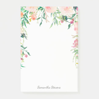 Aguarela cor-de-rosa feminino floral com seu nome bloquinhos de notas
