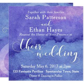 Aguarela cor-de-rosa roxa, casamento branco da convite quadrado 13.35 x 13.35cm