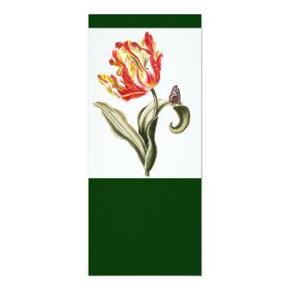 Aguarela da borboleta da flor da tulipa do convite 10.16 x 23.49cm