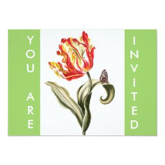 Aguarela da borboleta da flor da tulipa do convite personalizados