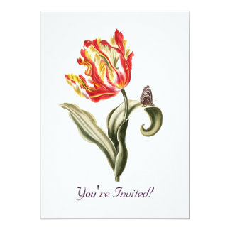 Aguarela da borboleta da flor da tulipa do convites