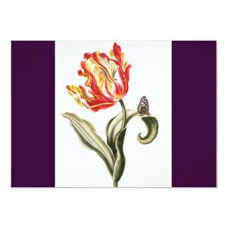 Aguarela da borboleta da flor da tulipa do convite 12.7 x 17.78cm