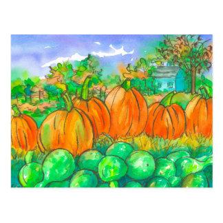 Aguarela da colheita das cabaças da abóbora de cartão postal
