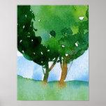 aguarela da paisagem da árvore poster