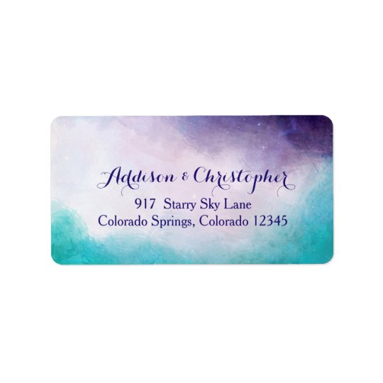 Aguarela da violeta & da turquesa personalizada etiqueta de endereço
