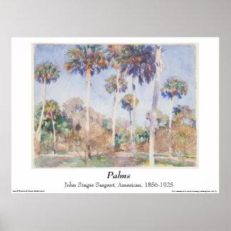 Aguarela de John Singer Sargent - palmas Pôster