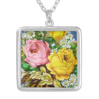 Aguarela do buquê floral do outono colar com pendente quadrado