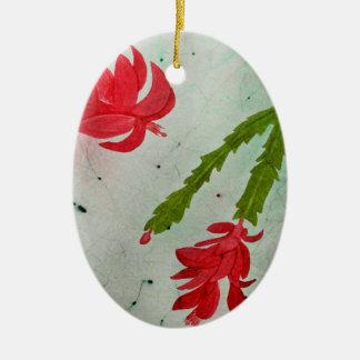 Aguarela do cacto de Natal Ornamento De Cerâmica