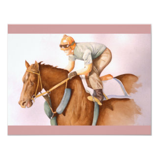Aguarela do cavalo e do jóquei de raça convite 10.79 x 13.97cm