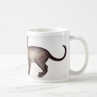 Aguarela do gato Siamese com texto de informação Caneca De Café