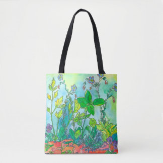Aguarela do jardim de erva da manjericão bolsas tote