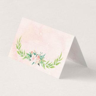 Aguarela do pêssego & cartão floral do lugar do