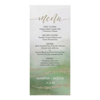 Aguarela elegante inundado no menu do casamento da