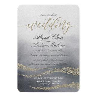 Aguarela elegante no convite do casamento do fumo
