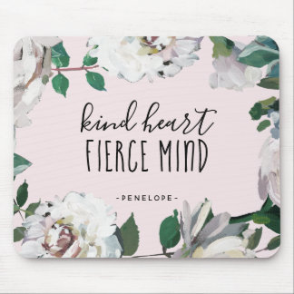 Aguarela feroz Mousepad floral da mente do coração