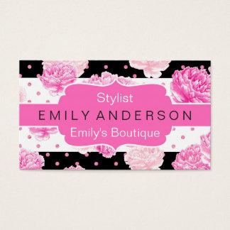 Aguarela floral das listras horizontais pretas & cartão de visitas