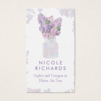 Aguarela floral do buquê do frasco de pedreiro do cartão de visitas